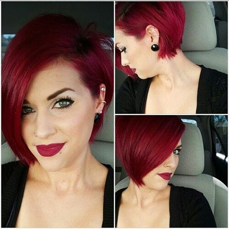 Asymmetrical-Haircut Short Red Hair Color Ideas