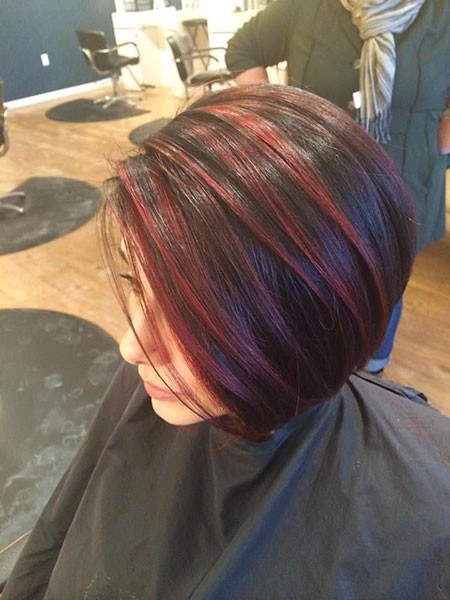 Red-Highlights-on-Dark-Short-Hair Short Red Hair Color Ideas