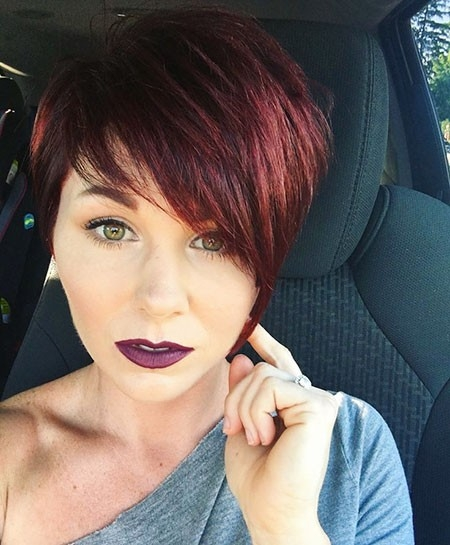 Side-Swept-Bangs-Cut Short Red Hair Color Ideas
