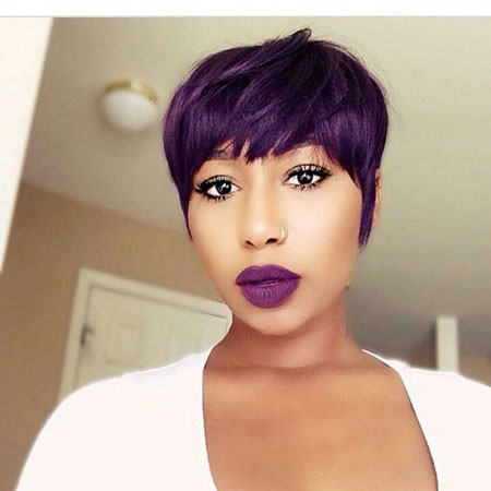 Purple-Pixie-Cut-Black-Girl Best Short Pixie Hairstyles for Black Women 2018 – 2019