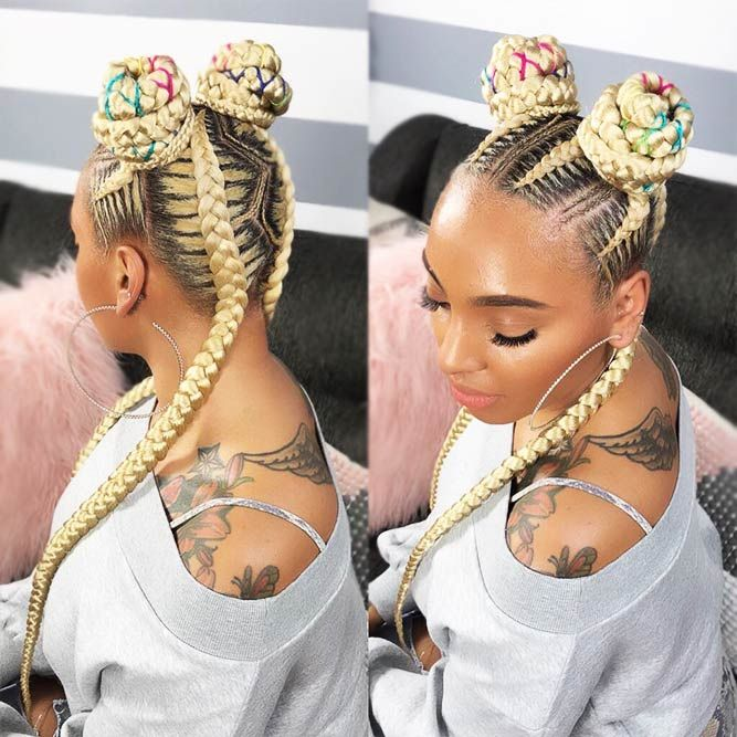 Blonde-Bun-Hairdo-with-Colorful-Highlights